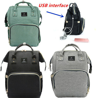 Mommy Maternity Baby Diaper Bag Backpack + USB Charging interface Stroller Hook
