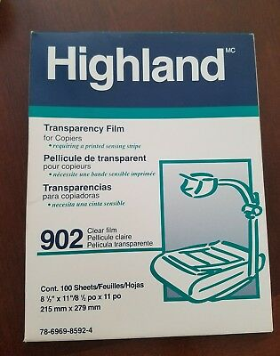 "902 HIGHLAND TRANSPARENCY FILM FOR COPIERS 75- 8.5""x11""SHEETS"