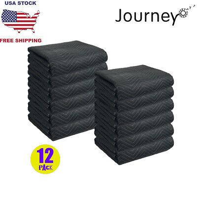 12 Moving Blankets Deluxe Pro (45lb/dz) Quilted Shipping Furniture Pads