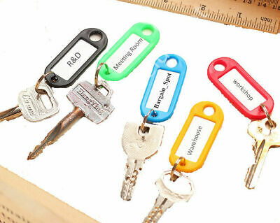 Plastic Key Ring Tags Mixed Colours Choose from 1,5, 10, 20, 50, 100, 200 tag UK