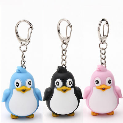 Cartoon Cute Animal Penguin LED Light With Sound Key Chain Keyring  Ring Torch