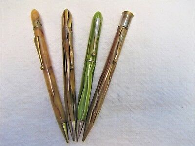 Vtg Swirled Marbled Mechanical Pencil Lot Of 4~Butterscotch~Caramel~Lime Green
