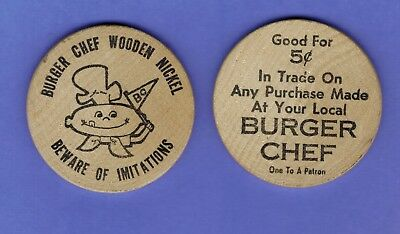 "LOT OF 2 Vintage RARE Burger Chef Wooden Nickels "" Beware of Imitations"" 5 cents"