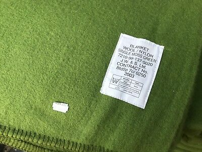 """British Army Surplus Single Moss Green Blanket, 72"""" X 94"""" Approx. Camping,sheet"""