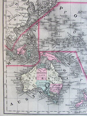 Oceanica Australia shows Hooked lake Torrens 1887 Mitchell Bradley large old map