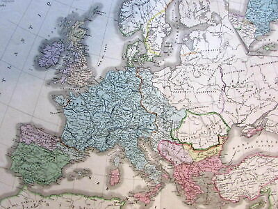 Europe under Charlemagne 1875 Brue large old engraved map original hand color