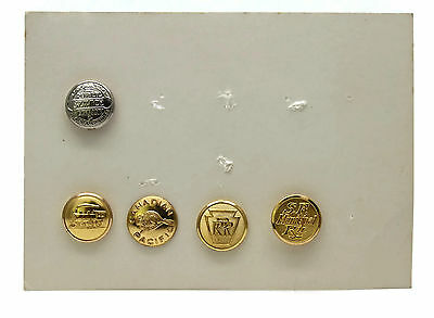 Lot Of 5 Reproduction Railroad Buttons Canadian Pacific Locomotive SF Municipal