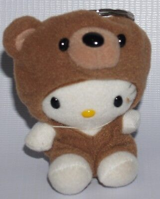 Vintage Sanrio Hello Kitty dressed up as a Brown Bear Plush Key Ring (1998)