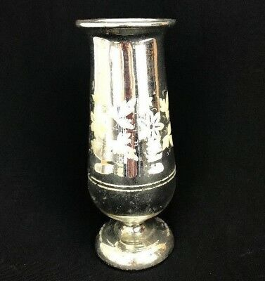 Antique Victorian Silver Mercury Glass Vase Hand Painted 9 34 Tall