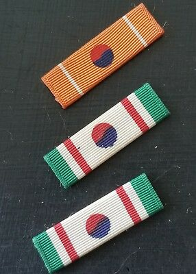 WWII US Army Navy Marine Korean Order of Merit Hwarang  Ribbon Bar Set RARE!!!