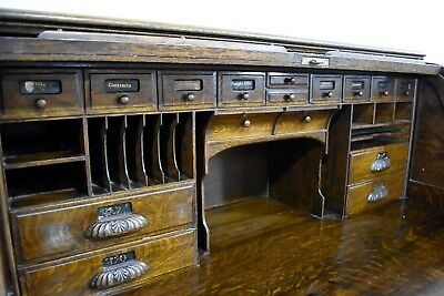 Huge antique vintage early 20th century tambour roll top writing desk