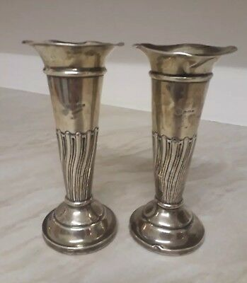 Hallmarked pair of weighted silver candlesticks 336 grams - scrap or keep