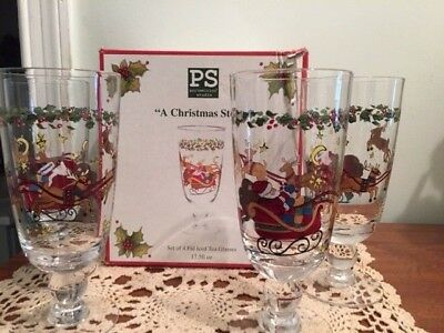 """PS Portmeirion Studio""""A Christmas Story""""Susan Winget  4 Footed Iced Tea Glasses"""