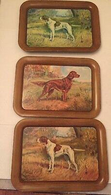 Hunting Dogs Printed on Metal Trays by Ole Larsen Vtg Mid Century Home Decor