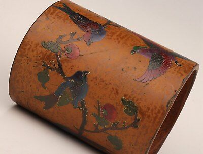Old Chinese Palace Hand-Painted Flowers Birds Dotted Brush Pot Lacquer