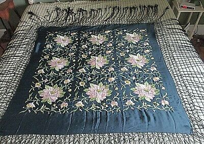 """Vintage Hand Embroidered Floral Silk Piano Scarf/Shawl 49"""" Plus Fringe"""