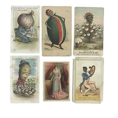 Group Antique Victorian Trade Card Advertising Scraps Vegetable People More