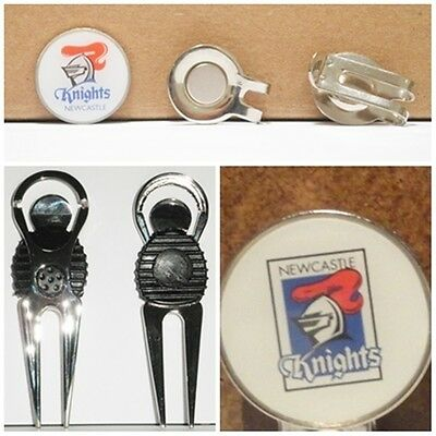 2 only NEWCASTLE KNIGHTS  GOLF BALL MARKERS + A NICE  DIVOT TOOL &  HAT CLIP SET