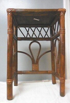 "Vintage 19.5"" Tortoise Bamboo Rattan Wicker Plant Stand Side Table MCM"