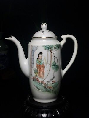 Antique Chinese Porcelain Tea /Wine pot Hand Painted & Calligraphy with Marked