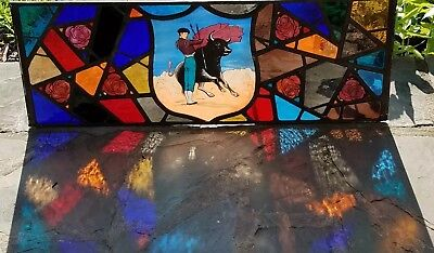 Antique Fired Stained Glass Window Handpainted Copper Framed, Import From Spain