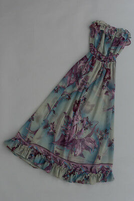 Vintage 70s dress,Liz Davonport pretty lavender hues, with underlay and shawl