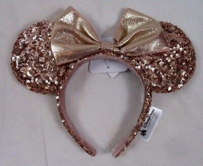 """Disney Parks Rose Gold Minnie Mouse Ears Headband Sequin  Authentic 2017 NWT """"X"""""""