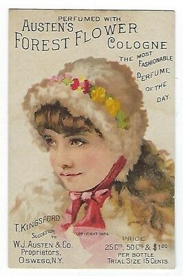 Austen's Forest Flower Cologne late 1800's perfume trade card #D - Hebron, ME