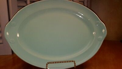 """Vintage TS & T Taylor Smith LuRay Pastel 14"""" green serving platter"""