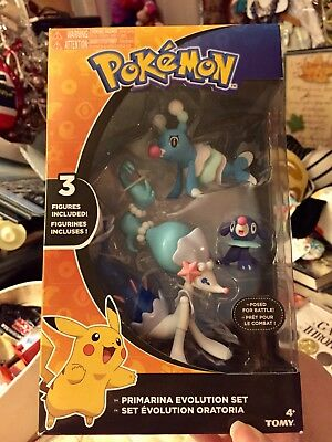 Pokemon Tomy Primarina Evolution Figure Set Popplio Brionne Primarina