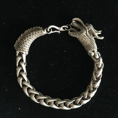 Rare Chinese Old Tibet Silver Handwork Dragon Collectible Amulet Bracelet