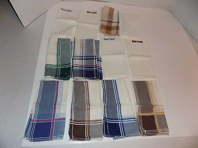 Lot of 12 Vintage Men's Hankies Handkerchiefs-Some Plaid-Some Monogramed