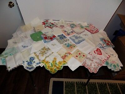 Lot of 43 Vintage Lady's Hankies Handkerchiefs-Flora, Embroidered, Others