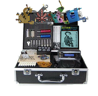 New complete tattoo equipment set 4 machine tattooing kit body art