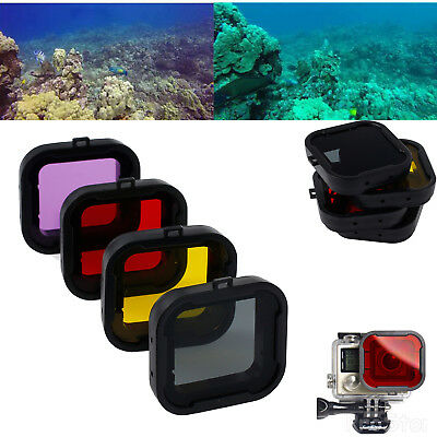 4X Underwater Diving Lens Filter For GoPro Hero 3+ Camera Purple Red Yellow Grey