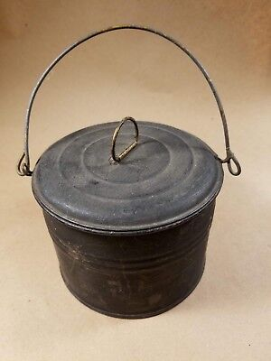 Vintage Antique Little Tin Berry Bucket with Lid and Bale