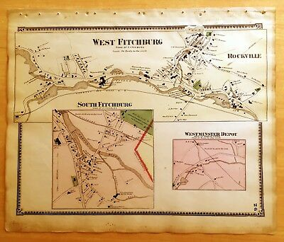 Original 1870 Map WEST FITCHBURG Rockville + MA Massachusetts BEERS Antique