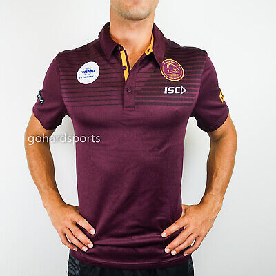 Brisbane Broncos 2018 Maroon Marle Performance Polo Shirt (S - XL) + FREE CAP