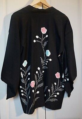 Vintage Ladies Japanese Silk Haori Kimono Jacket - Black with Shibori Dyeing