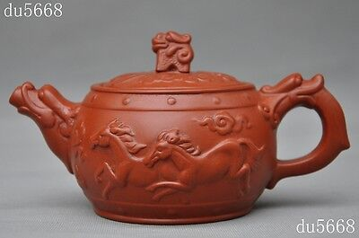 "4""Old Chinese Yixing Zisha Pottery Carved Dragon Horse""龙马""statue teapot tea set"