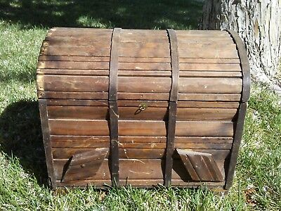 Antique Primitive Chest with Hinged Lid, Treasure Chest Wish Box Keepsake Trunk