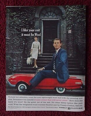 1963 Print Ad TIMELY Clothes Men's Fashions ~ FORD THUNDERBIRD Toy Muscle Car