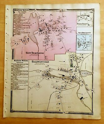 Original 1870 Map EAST TEMPLETON Baldwinville + MA Massachusetts BEERS Antique