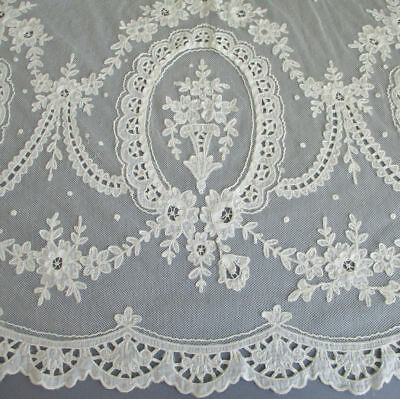 """Vintage French TAMBOUR LACE Embroidered Appliqued Panel 86"""" X 40"""" Flowers SWAGS"""