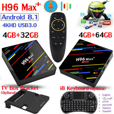 H96 MAX Plus+ Voice Control Android 8.1 Smart TV Box 64GB/32GB 4K HDR10 RK3328