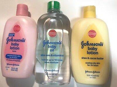 Johnsons Baby Lotion 2 (15 fl oz) + 1 Johnsons Baby Oil (20 fl oz)-Lot of 3 *NEW
