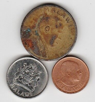 3 different world coins from MALAWI