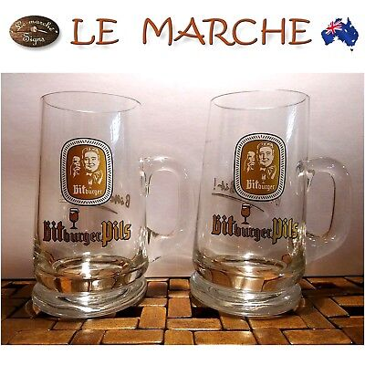 2 Rare Collectable GERMAN BitBurger Pils BEER GLASSES Stein Mug 200ml AS NEW
