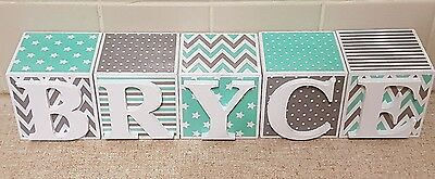 PERSONALISED WOODEN NAME BLOCKS baby shower gift decor boy girl letters 7x7cm