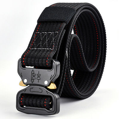 Mens Nylon Belt Heavy Duty Adjustable Strap Military Style Outdoor Waistband